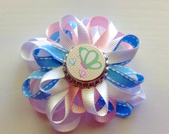Pretty Pink and Blue Butterfly Bottle Cap Bow