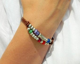 Women leather bracelet,leather bracelet,leather bracelet for women,beaded bracelet, silver plated,PR002