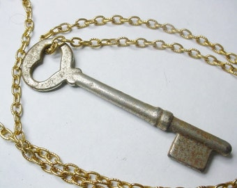 Vintage Heart Skeleton Key Shabby on a Gold Tone Chain
