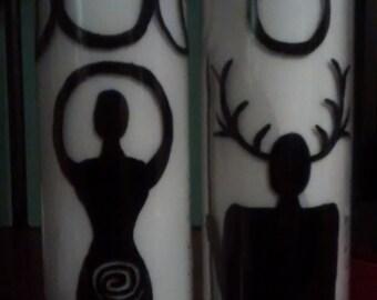 Goddess and God candle set