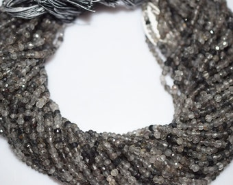 Natural Good Quality Black Rutile Rondelle Beads 13 Inch Strand ,Black Rutile Faceted Rondelle Beads , 3.5-4 mm - MC018