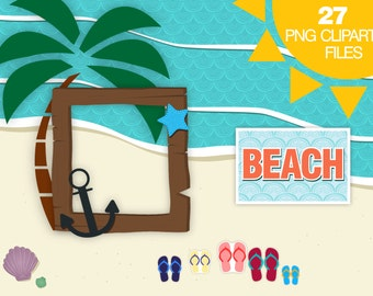 Summer Set Beach Clipart, Palm Tree Clipart, Flip Flops Clipart, Summer Clipart, Frame Clip Art, Frame With Shadow Clipart, Digital Stickers