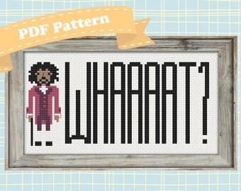 """Hamilton Cross Stitch Pattern (Thomas Jefferson: """"Whaaaaaaat?"""")"""