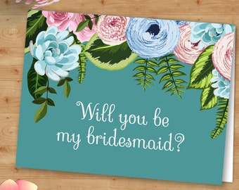 Aqua Watercolor Flowers Will You Be My Bridesmaid or Thank You Greeting Card; Editable PDF Instant Download