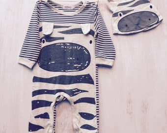 Zebra Grey Romper Suit and Hat