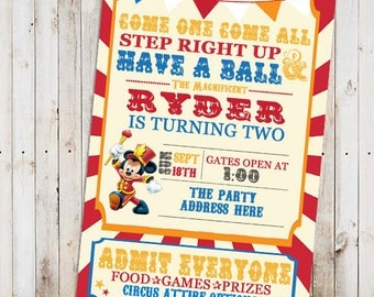 Circus Theme birthday invitation