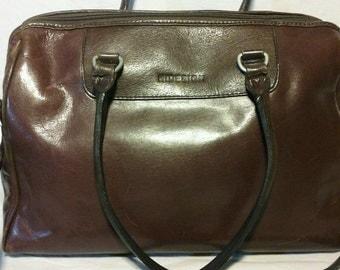 Hidesign Brown Leather Satchel Handbag Crossbody Bag Purse