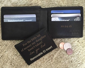 Gift for dad birthday • Personalized wallet • personalized birthday gift for dad • engraved wallet • stocking stuffer for dad • Black* 7150