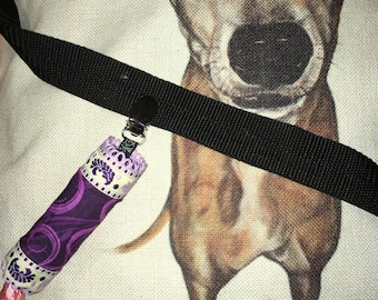 Poo-bag pouch - Purple swirls & feathers for girls