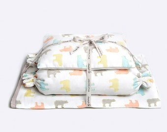 Curious Bear-Baby Bedding Crib Set, Crib Bedding, New Baby Crib Set, Baby Gift, Gender Neutral Baby Bedding Set, Baby Bedding