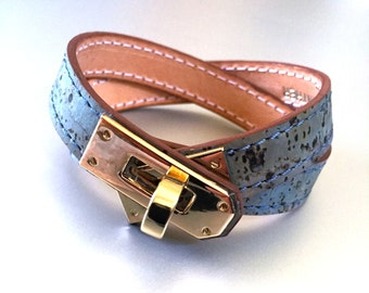 Cork and Leather Double Wrap Bracelet
