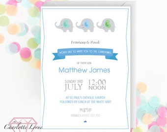 Christening Invitation - Baptism - Naming Day - Personalised Invitation - Digital Download File - Printable Invitations - Elephant Print