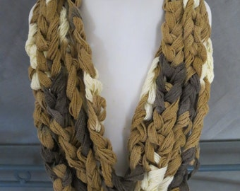 Crocheted Chunky Scarf Necklace in Brown/Cream/Tan