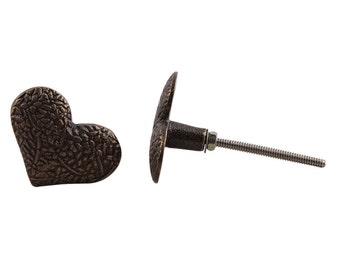 Metal Heart Draw Knob with Flower pattern /Drawer Pulls / Dresser Knobs / Wardrobe  Handles