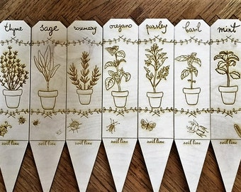 Herb Markers  (Set of 7) - Made from unfinished Baltic birch