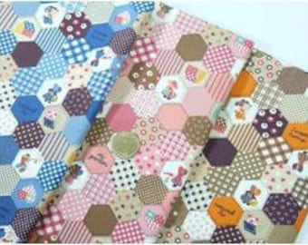 1/2 Yard Cotton Fabric Hexagon, Fabric in Blue,Pink and Brown Case, Book Cover, Purse, Scrapbooking