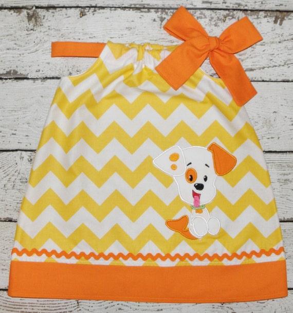 Bubble Puppy Bubble Guppies Pillowcase style dress Yellow Chevron and Orange