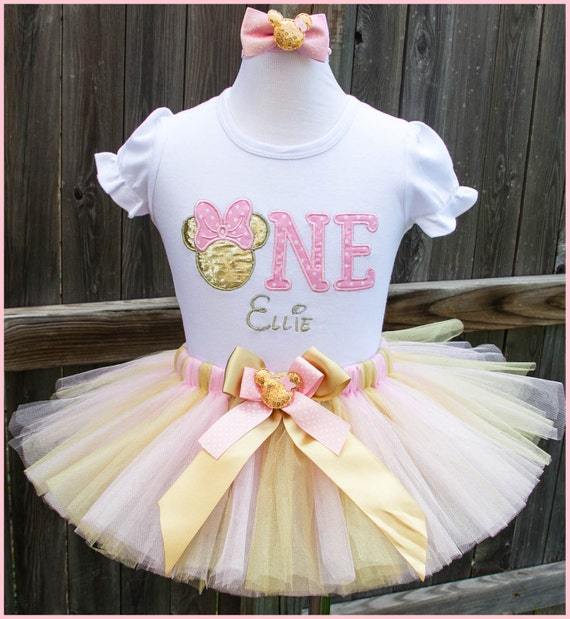 Pink and Gold Minnie Mouse tutu Birthday outfit First bithday Personalized with name