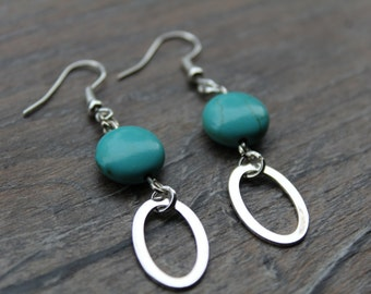 Turquoise boho drop earrings with silver oval pendant
