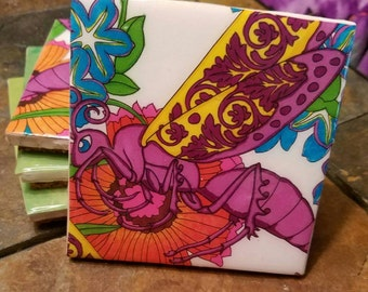 Purple/yellow grasshopper coaster set of 4