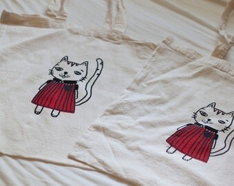 Kitty in red dress - screen printed totebag
