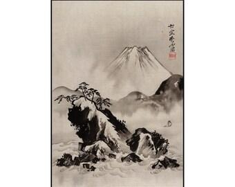 Mount Fuji Print - Japanese Landscape Print - Japanese Vintage Print - Monochrome - Japanese Art - Digital Download - Digital Print - Kyosai