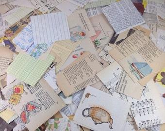 100 Piece VINTAGE and Found Scrap Paper Stack, Vintage Paper Scraps, Paper Destash, Scrap Paper, Paper Pack, Scraps, Destash