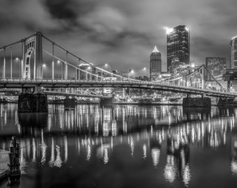 """Black And White Photograph Of Pittsburgh Captured In Twilight - Fine Art Luster Print - """"3AM"""""""