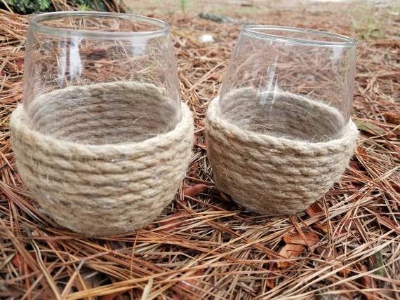 Set of 2 Nautical Rope embellished Stemless Wine glasses