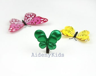 No58 / Butterfly/Green Hair Clips/Girl Hair Clips/Toddler Hair Pins/Gift for Kids/Birthday Present/Fabric Bow/Baby Clips/Hair Accessory
