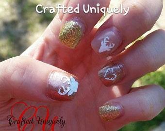 deer / antler vinyl nail decals / nail art