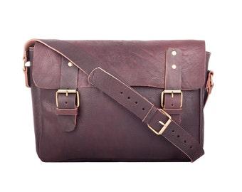Shoulder bag leather case uni teacher bag cross body leather bag vintage Messenger