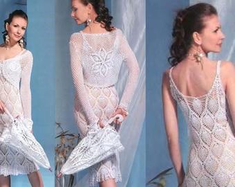 Elegant white dress with bolero crochet / custom