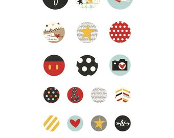Lot of 23 Brads Simple Stories Say Cheese II - self adhesive - tie Parisiennes