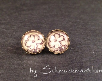 Earrings-bronze flower beige