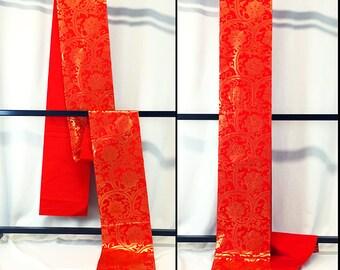 Beautiful Obi Red Kimono Belt Fukuroobi