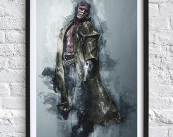 Hellboy 'Watercolor' A4 Print
