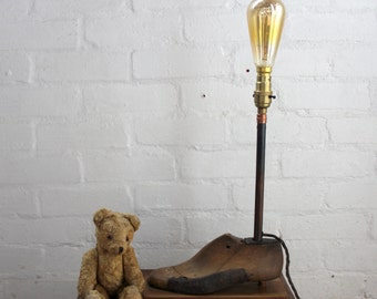 handcrafted & re-purposed | antique wooden shoe form lamp