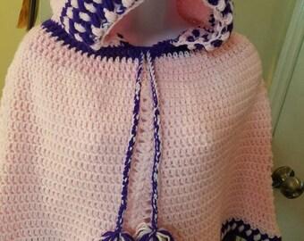 Little girl crochet hooded poncho