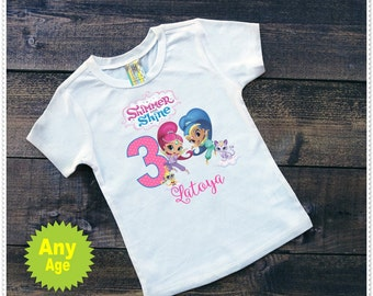 Shimmer and Shine Birthday Tee Shirt or Bodysuit; Bodysuit size 6-24 Mth; Tee Shirt Size 2T and up; FREE Personalization