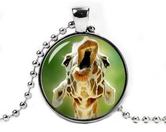 Giraffe Pendant Necklace with a ball chain Giraffe Jewelry Cute Giraffe Necklace