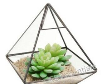 ES  Glass Prism Air Plant Terrarium / Tabletop Succulent Planter/Candle Holder