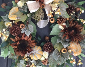 Fall Wreath , Autumn Wreath, Thanksgiving , Front Door