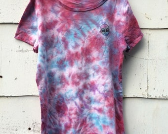 Alien Crinkle Red/Blue/Purple Tie Dye Shirt | Youth Medium