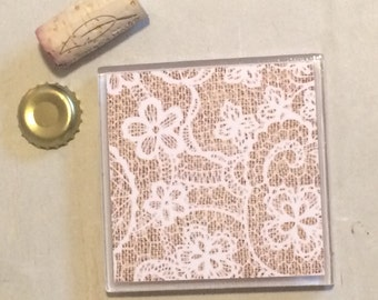 Burlap & Lace Coasters (set of 2)