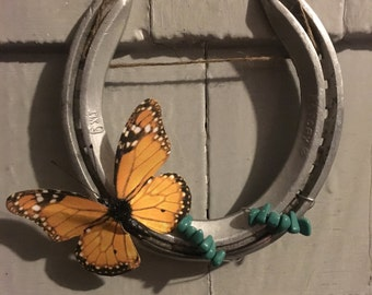 Horseshoe - Butterfly with Turquoise Beads