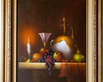 WALLACE STILL LIFE / Original Vintage Oil Painting On Canvas / Framed