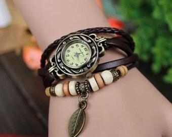Women wrist watch, ladies wrist watch, leather watch, vintage, boho, retro, bracelet watch, Brown , leather jewelery, FREE GIFT !!