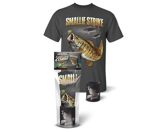 """Follow the Action® Smallmouth Bass """"Smallie Strike"""" T-Shirt and Koozie® Combo Gift Set"""