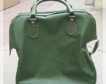 Vintage Sears Feather Lite Green Tote Bag / Carry-On Travel Luggage / Handled Bag / Overnight Bag / Retro Green / 60s / FREE SHIPPING to US